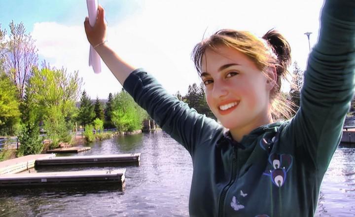 Chaya Mushka Stern near the water