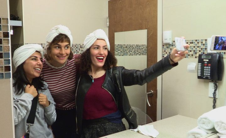 BMC students take selfie at the Mikvah (Montreal). Photo from Shekinah Rising