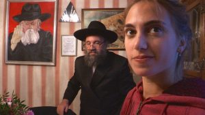 Chaya Muska Stern with Father Jonathan Stern at home (London). Photo from Shekinah Rising